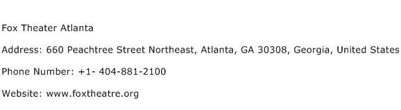 Fox Theater Atlanta Address Contact Number