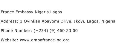 France Embassy Nigeria Lagos Address Contact Number