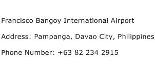Francisco Bangoy International Airport Address Contact Number