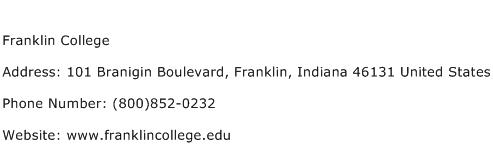 Franklin College Address Contact Number
