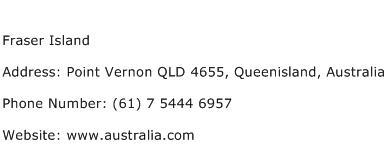 Fraser Island Address Contact Number