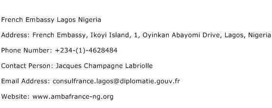 French Embassy Lagos Nigeria Address Contact Number