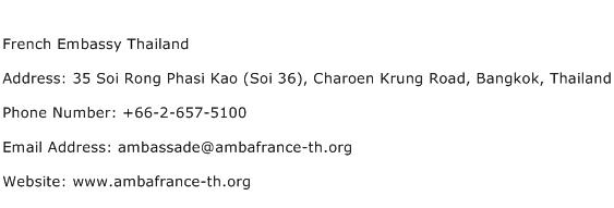 French Embassy Thailand Address Contact Number