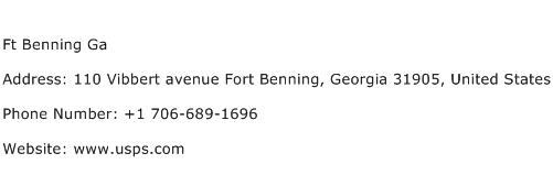 Ft Benning Ga Address Contact Number