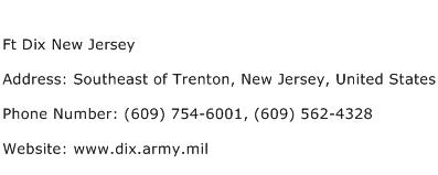 Ft Dix New Jersey Address Contact Number