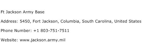 Ft Jackson Army Base Address Contact Number
