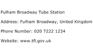 Fulham Broadway Tube Station Address Contact Number