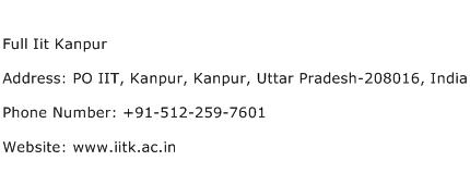 Full Iit Kanpur Address Contact Number
