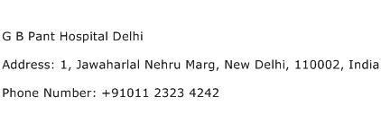 G B Pant Hospital Delhi Address Contact Number