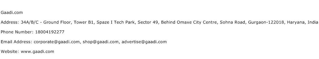 Gaadi.com Address Contact Number