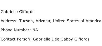 Gabrielle Giffords Address Contact Number