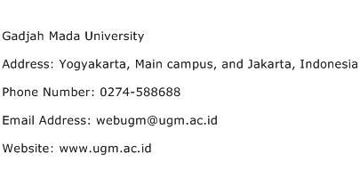Gadjah Mada University Address Contact Number
