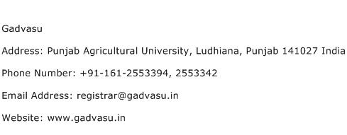 Gadvasu Address Contact Number