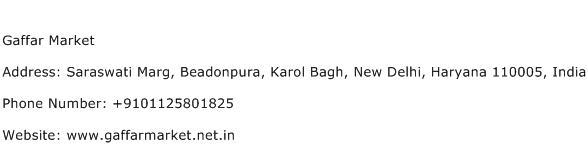 Gaffar Market Address Contact Number