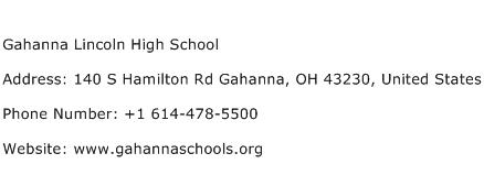 Gahanna Lincoln High School Address Contact Number