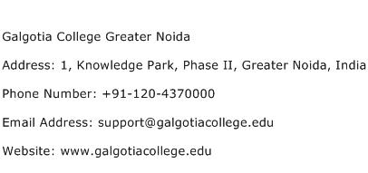 Galgotia College Greater Noida Address Contact Number