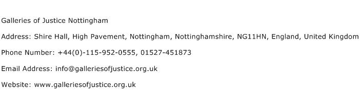 Galleries of Justice Nottingham Address Contact Number