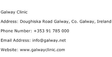 Galway Clinic Address Contact Number