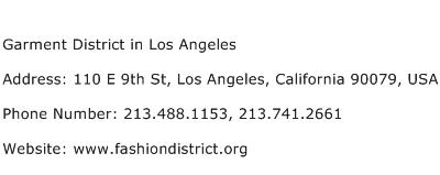 Garment District in Los Angeles Address Contact Number