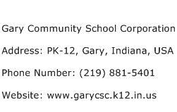 Gary Community School Corporation Address Contact Number