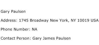 Gary Paulsen Address Contact Number
