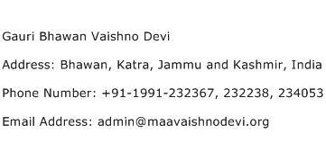 Gauri Bhawan Vaishno Devi Address Contact Number