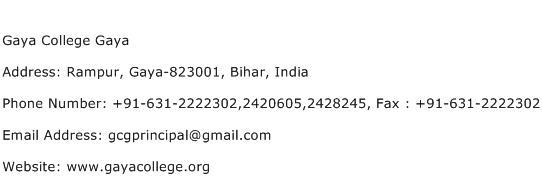 Gaya College Gaya Address Contact Number