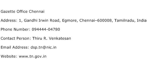 Gazette Office Chennai Address Contact Number