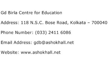 Gd Birla Centre for Education Address Contact Number