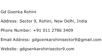 Gd Goenka Rohini Address Contact Number