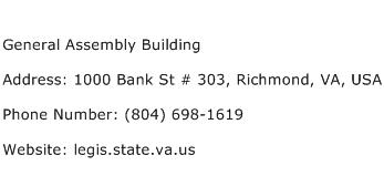 General Assembly Building Address Contact Number