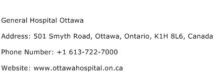 General Hospital Ottawa Address Contact Number