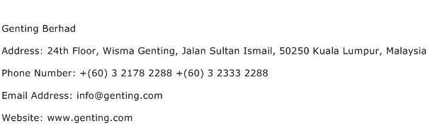 Genting Berhad Address Contact Number