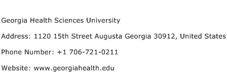 Georgia Health Sciences University Address Contact Number