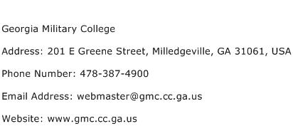 Georgia Military College Address Contact Number