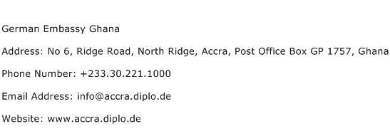 German Embassy Ghana Address Contact Number
