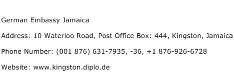 German Embassy Jamaica Address Contact Number