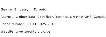 German Embassy in Toronto Address Contact Number