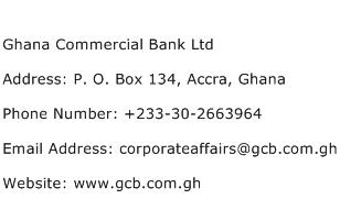 Ghana Commercial Bank Ltd Address Contact Number