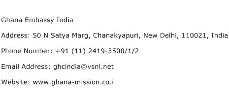 Ghana Embassy India Address Contact Number
