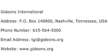 Gideons International Address Contact Number