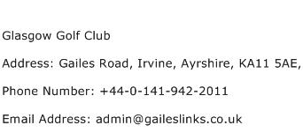 Glasgow Golf Club Address Contact Number