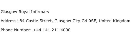 Glasgow Royal Infirmary Address Contact Number