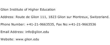 Glion Institute of Higher Education Address Contact Number