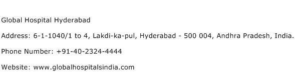 Global Hospital Hyderabad Address Contact Number