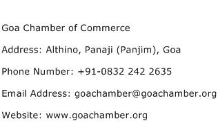 Goa Chamber of Commerce Address Contact Number