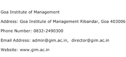 Goa Institute of Management Address Contact Number