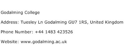 Godalming College Address Contact Number