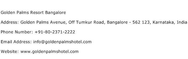 Golden Palms Resort Bangalore Address Contact Number