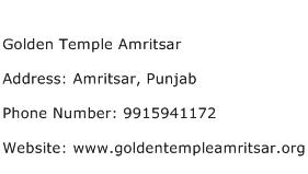 Golden Temple Amritsar Address Contact Number